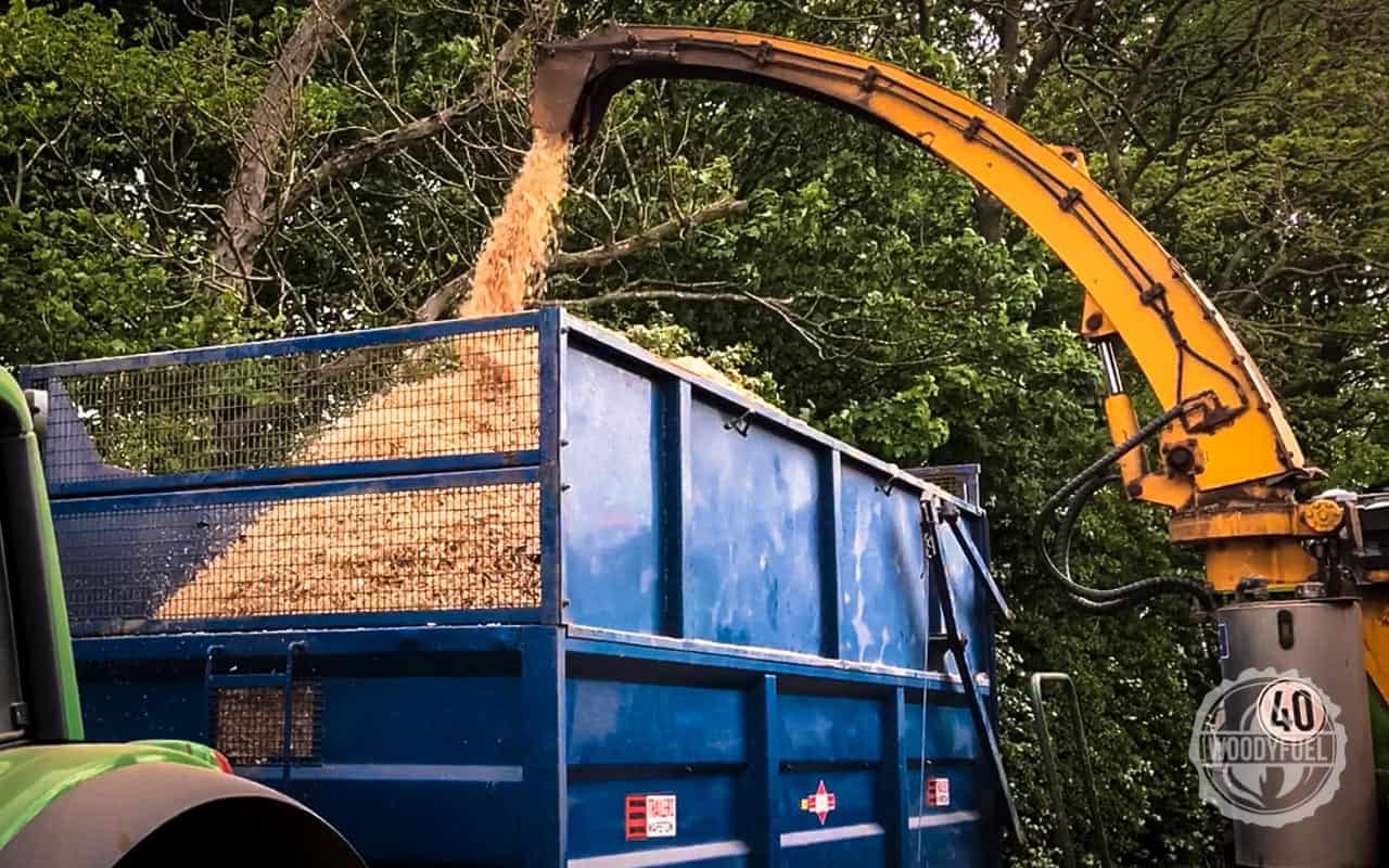 Wood chipper for wood fuel by Woodyfuel in the UK