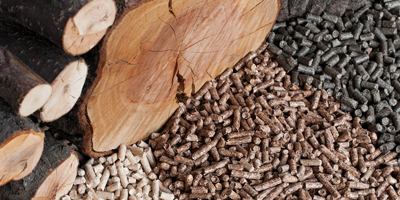 Three types of pellets spread out next to wood logs