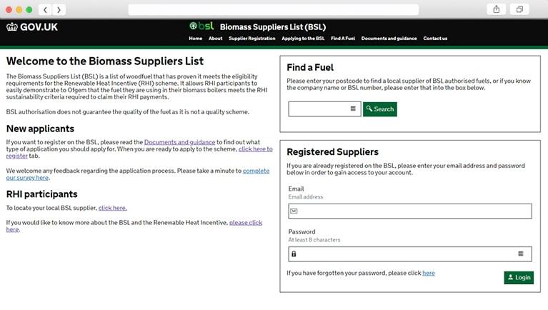 BSL Biomass Suppliers List website